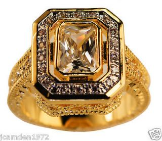 ladies STUNNING CZ Tower Of London ring 18k yellow gold Overlay size 8