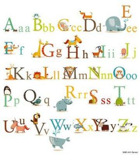 Animals Alphabet Kids Wall Sticker Decals 4 boys girls classroom