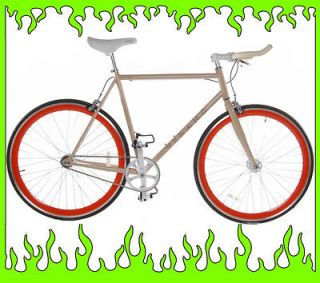 Cream 50cm Vilano EDGE Chromoly Fixed Gear Bike Fixie Single Speed