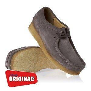 Clarks Originals Wallabee Womens Trainers Shoes   Grey Suede