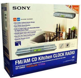 Sony ICF CDK50 USED Under Cabinet Kitchen Sound System CD Clock Radio