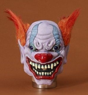 CRAZY CLOWN w/ FANGS & FIERY RED HAIR ADULT HALLOWEEN MASK EVIL CLOWN