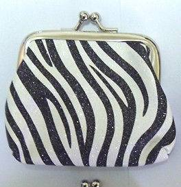 Zebra Pattern Fashion Small Coin Purse Wallet Bag Lady Women Black aa