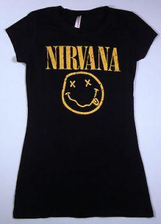 NIRVANA Smiley Face Kurt Cobain T shirt Womens Tee SzL