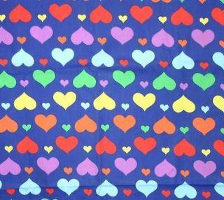yard Rainbow Hearts blue/pink/ purple/orange 100 % cotton print