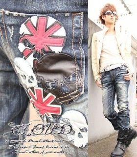 CLOUD Lolita Jeans Denim Japanese Design Skull X Union Jack Style W32