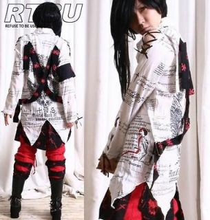 Visual Kei Gothic Punk Linen Muslin Dress Shirt Graphic Button Down