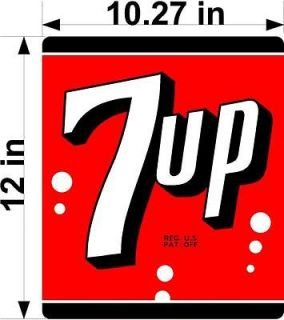 12 7UP 7 UP (7UP401) COOLER POP soda coca cola machine decal