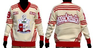 Kappa Alpha Psi Long Sleeve V neck Sweater White Red V neck Fraternity