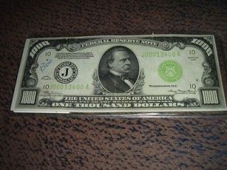 1000 dollar bill one thousand federal reserve note low serial number