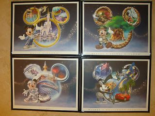 DISNEY WORLD MICKEY MOUSE NEW FRAMED 4 PARK COLLECTOR LITHOGRAPH SET