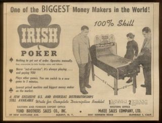 1953 Irish Poker coin op pool arcade game machine photo scarce trade