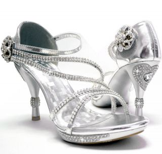 New womens shoes stilettos rhinestones velcro wedding prom silver