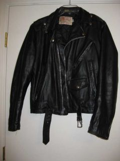 Vintage Excelled Black Leather Biker Motorcycle Jacket Coat Heavy Duty