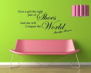 Marilyn Monroe The Right Shoes WALL ART STICKER MURAL QUOTE