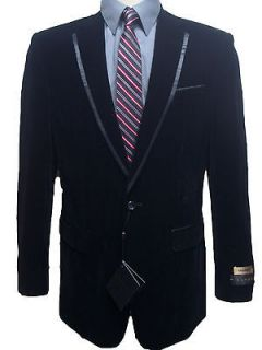 MENS ONE BUTTON BLACK VELVET BLAZER SIZE LARGE (L) NEW SPORT JACKET