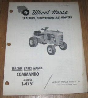 Wheel Horse Commando 1 4751 Tractor Parts Manual