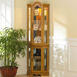 & Martin Riley Oak Mirror Lighted Corner CURIO DISPLAY GLASS CABINET
