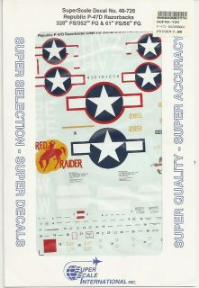 48 SuperScale Decals Razorback P 47D Red Raider 352nd FG P 47C Rat