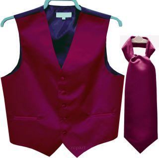 tuxedo vest waistcoat & ascot cravat wedding prom party dark purple