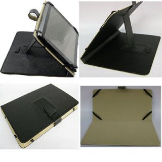 D695 Black Folio Stand Leather Case Cover For 10.1 Dell Latitude ST