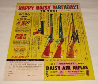1958 HAPPY DAISY BIRTHDAY bb gun air rifle ad