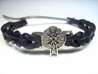Silver Black Leather Celtic Cross Bracelet Wristband Cuff Irish Made c