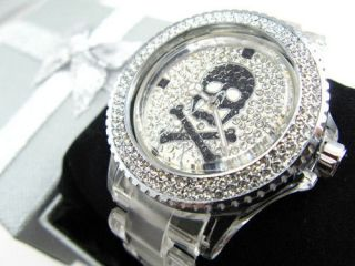 NEW Toy crystal skull cross watch gift box free P & P