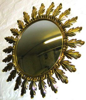 Antique vintage design French sunburst convex wall mirror from sixties