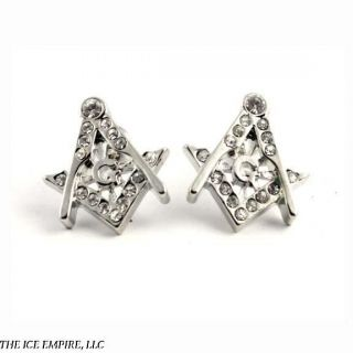 Silver / White Gold Finish Masonic Freemason Lodge Clear CZ Stud