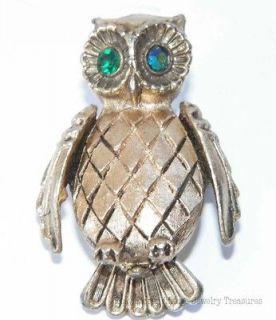 Vintage Vanda Owl Gold Tone Solid Perfume Pin Rhinestone Eyes NO