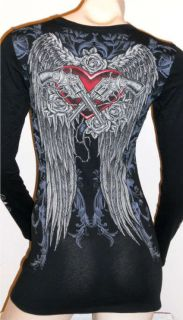 CRYSTAL GUNSn ROSES HEART ANGEL WINGS TATTOO BLACK T SHIRT & ED HARDY