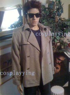 Twilight Edward Cullen Gray Pea Coat Costume Tailored