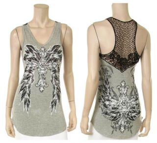 CRYSTAL CROSS ANGEL WINGS TATTOO LACE FISHNET TANK TOP T SHIRT & ED