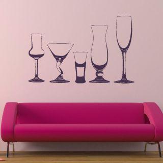 SET O WINE GLASSES GLASS DINER WALL DECAL STICKER kids vinyl stencil