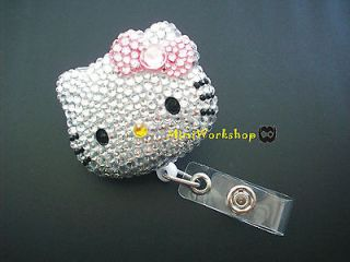 Crystal Pink Bow Hello Kitty Retractable Alligator Clip ID Badge