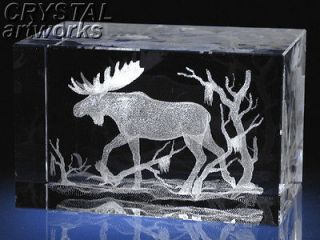 MOOSE in BOG* 3D Laser Etched Crystal Figurine A1727s