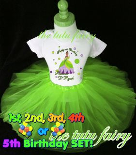 Princess & the frog birthday shirt tutu set outfit Tiana name age