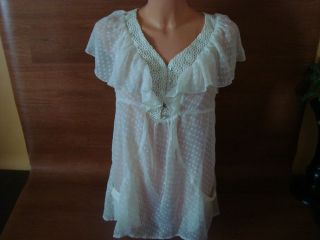 New Womens Size Medium M DANIEL RAINN Off White Blouse See Through NWT