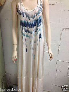 new Womens FREE PEOPLE Feathers Beige Ivory Long Maxi Beach Dress SIZE