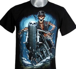 T23 GHOST RIDER SKULL MOTORCYCLE PUNK ROCK S/S T SHIRT XL