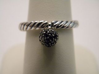 David Yurman 6mm Pave Black Diamond Ball Silver Cable Stackable Ring