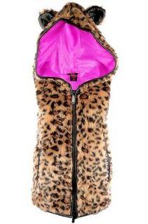 Abbey Dawn   XL   Rebel Yell Hoodie Vest Leopard Animal Ears Avril