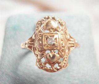 ANTIQUE ART DECO 14K YELLOW GOLD DIAMOND FILIGREE RING