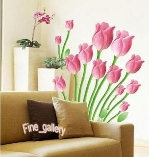 Color Tulip Flowers Removable Wall Sticker Decal Art DIY Home Decor