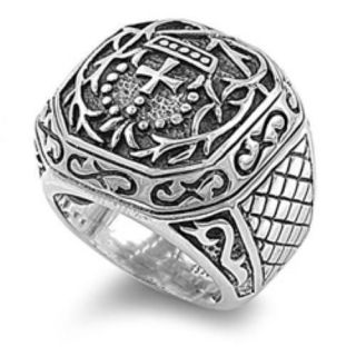Mens Huge Stainless Steel Templar Cross Textured Band Ring Sizes 9 14