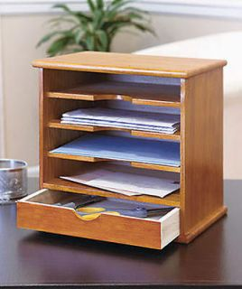 SLOT WOODEN MAIL OR PAPER ORGANIZER WITH DRAWER FOR DESKTOP   NATURAL