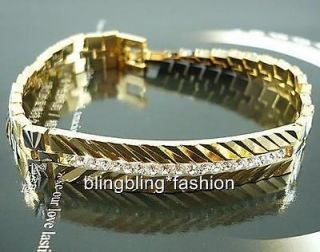Classic mens 18k yellow white gold filled bracelet CZ watch chain