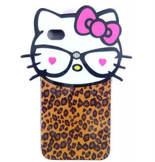 Brand New Leopard Hello Kitty Cute Soft Back Case Cover for iPhone 4