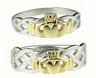 Gold Sterling Silver Celtic Claddagh Band Wedding Ring Set sz 10 v